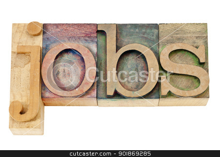 jobs word in letterpress wood type stock photo, jobs - isolated text in vintage letterpress wood type stained by color inks by Marek Uliasz
