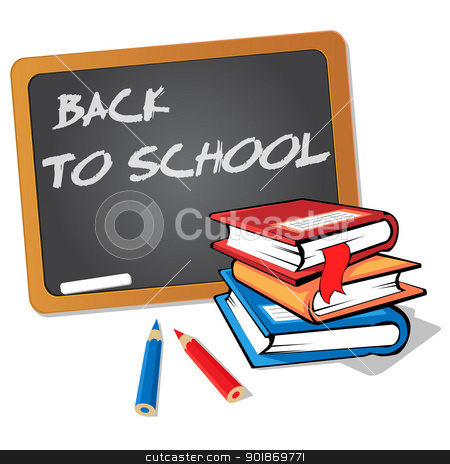Back to school stock vector clipart, Stack of books in the foreground with a blackboard in the background bearing the words: back to school by Alfio Roberto Silvestro