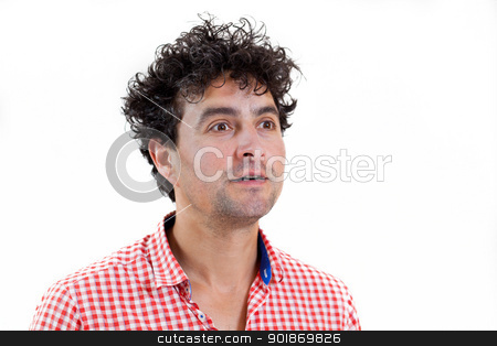 Man surprised stock photo, Young man surprised, isolated on white background by tristanbm