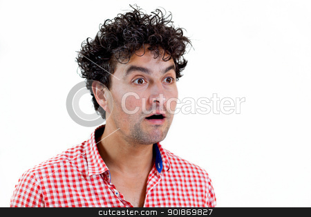 Casual man surprised stock photo, Young man very surprised, isolated on white background by tristanbm