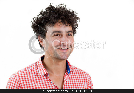 Portrait of a casual man smiling stock photo, Young cute man smiling, isolated on white background by tristanbm
