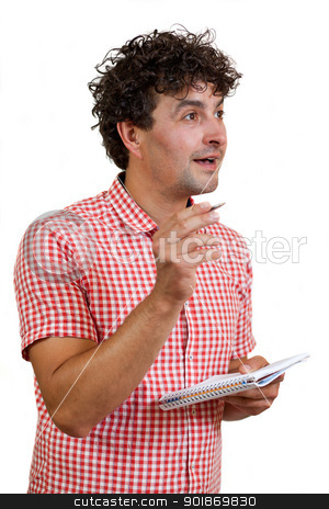 Man with a pencil and notebook stock photo, Young man happy to find a solution, holding a pencil and notebook, isolated on white background  by tristanbm