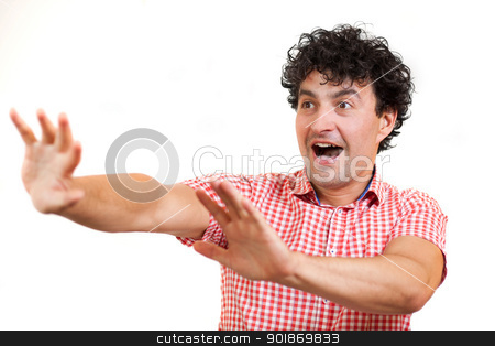 Man surprised stock photo, Man looking looking surprised or scared, isolated on white background  by tristanbm