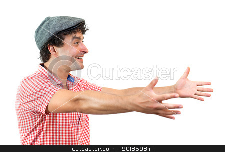 Man with open arms stock photo, Young man opening his arms in a welcoming gesture, isolated on white background by tristanbm