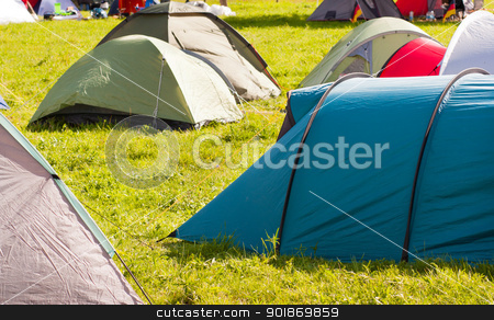 Camping full of tents and vacationer stock photo, Camping full of tents and vacationer by tristanbm