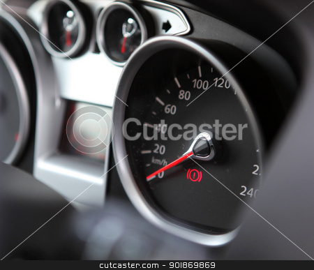 Car dashboard : An illuminated car dashboard in red and black stock photo, Car dashboard : An illuminated car dashboard in red and black. by Nenov Brothers Images