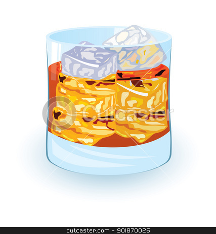 Scotch on rocks stock vector clipart, Vector illustration of scotch on rocks cocktail on night disco background