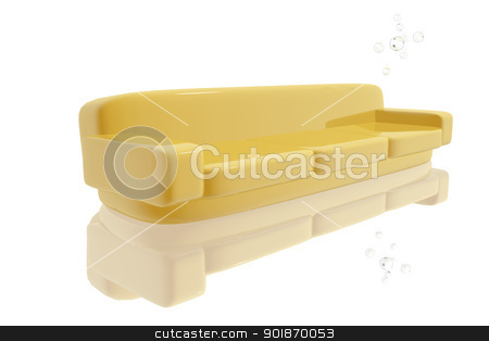 Modern sofa stock photo, Modern yellow sofa by genialbaron
