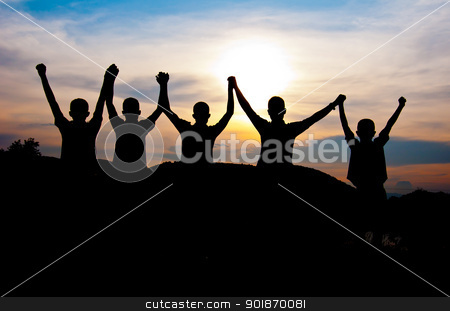 Happy and victory together stock photo, silhouette of boy happy and victory  together by Charoen Dokkularb