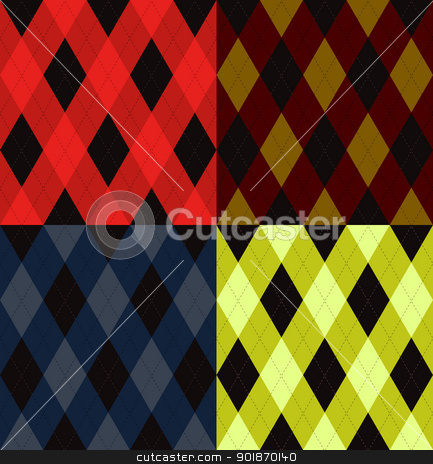 Argyle seamless pattern stock vector clipart, Argyle seamless pattern, four color options. Vector illustration. by lkeskinen