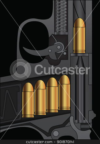A handgun sectional drawing stock vector clipart, A handgun sectional drawing with bullets loaded. Vector illustration. by lkeskinen