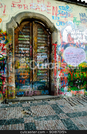 Lenon's wall Prague,  stock photo, Lenon&'s wall Prague,  by Sarka