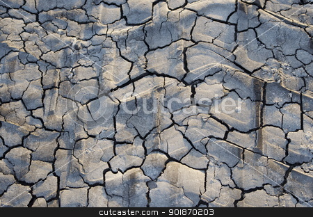 Tire track stock photo, Tractor tire track dried in cracked Texas clay by Ltisha