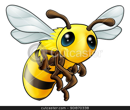 Cute Bee Character stock vector clipart, An illustration of a cartoon cute Bee character by Christos Georghiou