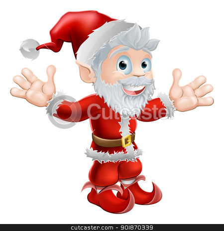 Santa waving stock vector clipart, Christmas illustration of a cute happy Santa Claus smiling and waving by Christos Georghiou
