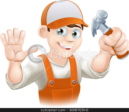 Carpenter or builder with hammer stock vector clipart, Graphic of smiling handyman, builder, construction worker or carpenter in overalls holding a claw hammer and waving by Christos Georghiou