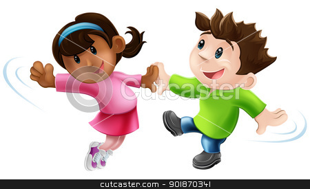 Two cartoon dancers dancing stock vector clipart, An illustration of two cute happy cartoon dancers dancing together by Christos Georghiou