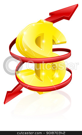Dollar exchange rate concept stock vector clipart, Dollar exchange rate concept or concept for changing income or profits  by Christos Georghiou