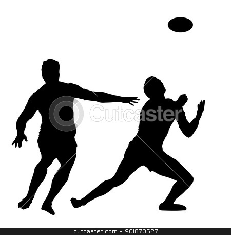 Sport Silhouette - Rugby Football Awaiting High Ball stock vector clipart, Sport Silhouette - Rugby Football Player Awaiting High Ball