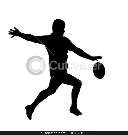 Sport Silhouette - Rugby Football Running Kicking For Touch stock vector clipart, Sport Silhouette - Rugby Football Player Maring Running Kicking For Touch by Snap2Art
