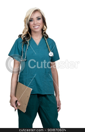 Woman Doctor stock photo, Beautiful young female doctor on her rounds by Robert Byron