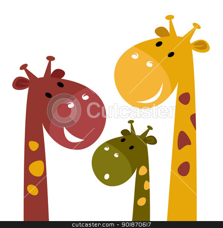 Cute giraffe family isolated on white stock vector clipart, Happy cartoon Giraffes. Vector Illustration by Jana Guothova