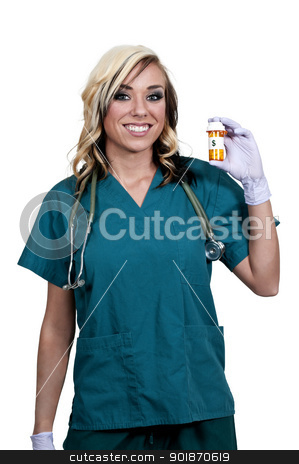 Doctor Holding Pills stock photo, A beautiful young female doctor on her rounds holding a prescription bottle of medicine pills by Robert Byron