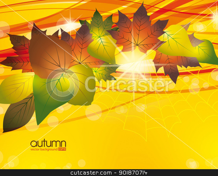 autumn stock vector clipart, abstract background with colored leaves by Miroslava Hlavacova