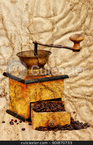 coffee mill and beans in grunge style stock photo, Antique coffee grinder with coffee beans in grunge style by Siloto