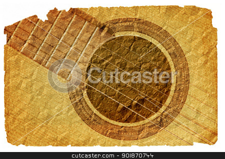background with guitar in grunge style stock photo, Image of the background with acoustic guitar in grunge style by Siloto