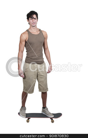 Man with Skateboard stock photo, Handsome young man with a skateboard ready to ride by Robert Byron