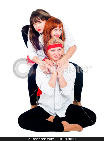 Three pretty girls stock photo, Three young beautiful woman in sportswear relaxing by Aikon