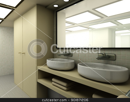 Bathroom stock photo, 3D rendered Illustration. Modern Bathroom interior visualisation. by Michael Osterrieder