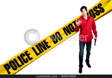 Police Detective stock photo, A police detective man on the job with a gun by Robert Byron