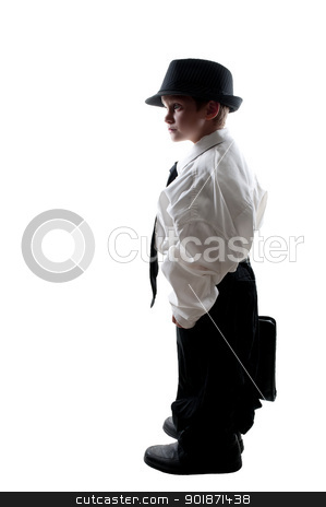 Boy in Oversized Clothes stock photo, Little boy dressed in oversized suit clothes by Robert Byron
