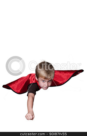 Super Hero stock photo, Handsome young boy super hero flying through the sky by Robert Byron