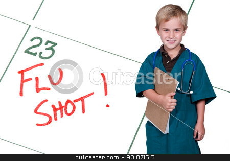 Little Doctor Flu Shot stock photo, A calendar reminder for a Flu Shot by Robert Byron