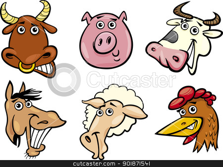 Cartoon farm animals heads set stock vector clipart, Cartoon Illustration of Different Funny Farm Animals Heads Set: Bull, Pig, Cow, Horse, Sheep and Hen by Igor Zakowski