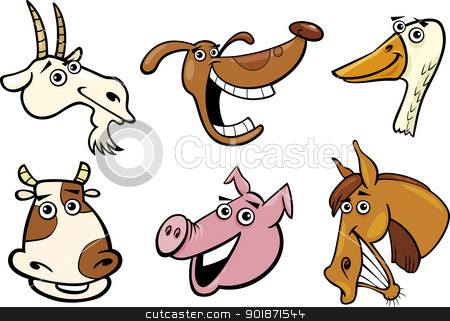 Cartoon farm animals heads set stock vector clipart, Cartoon Illustration of Different Funny Farm Animals Heads Set: Goat, Pig, Cow, Horse, Dog and Goose by Igor Zakowski