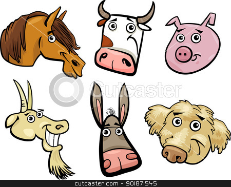 Cartoon farm animals heads set stock vector clipart, Cartoon Illustration of Different Funny Farm Animals Heads Set: Goat, Pig, Cow, Horse, Dog and Donkey by Igor Zakowski