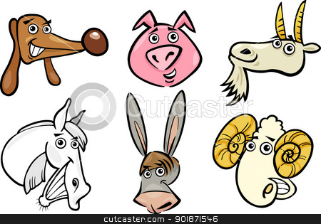 Cartoon farm animals heads set stock vector clipart, Cartoon Illustration of Different Funny Farm Animals Heads Set: Goat, Pig, Ram, Horse, Dog and Donkey by Igor Zakowski