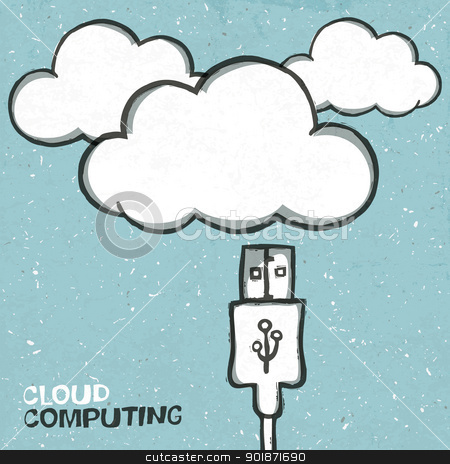 Cloud computing concept illustration, usb cabel and clouds icons stock vector clipart, Cloud computing concept illustration, usb cabel and clouds icons. Vector, EPS10 by pashabo