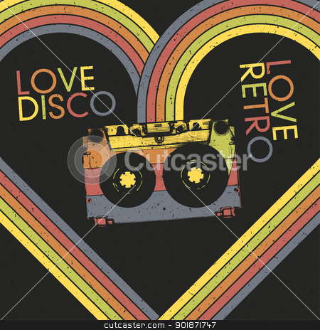 Love Disco, Love Retro. Vintage poster design template, vector,  stock vector clipart, Love Disco, Love Retro. Vintage poster design template, vector, EPS10 by pashabo