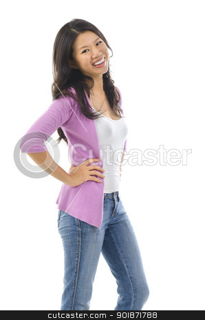 Asian female stock photo, 30s confident pan Asian female smiling over white background by szefei