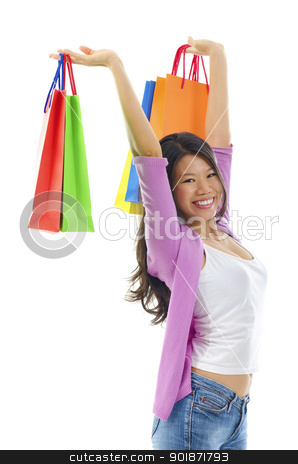 Happy shopper stock photo, Happy shopper holding shopping bag high over white background by szefei