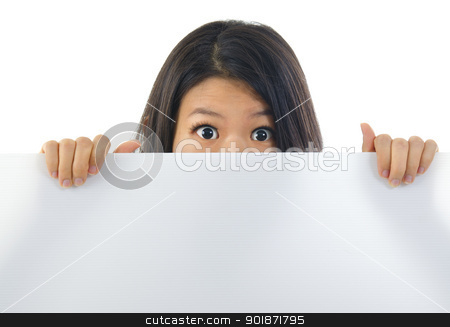 Shock news stock photo, Shock Asian woman open eyes big, hiding behind a white card and covering mouth. by szefei