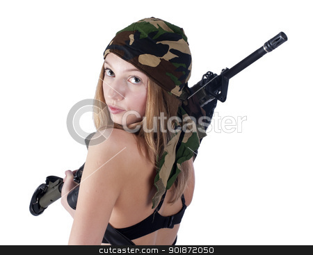 Pretty woman with a gun stock photo, Sexy young woman with a gun isolated on white by Aikon