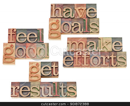 goals, efforts, results, feeling good stock photo, have goals, make efforts, get results, feel good - motivation and success concept - collage of isolated text in vintage letterpress wood type by Marek Uliasz
