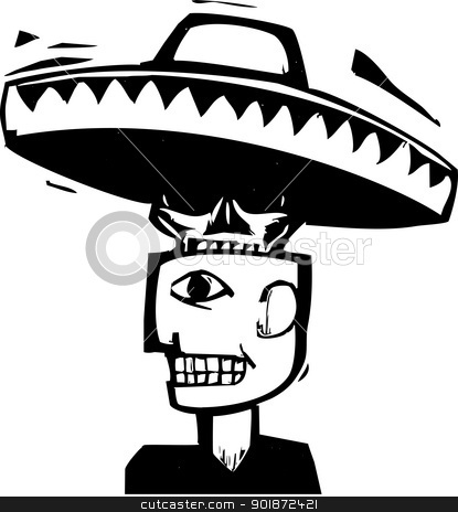 Death Under Hat stock vector clipart, Skull wearing a sombrero emerging from inside a man's head. by Jeffrey Thompson