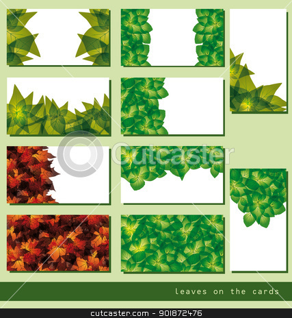 business cards stock vector clipart, set of leaves business cards or tags by Miroslava Hlavacova